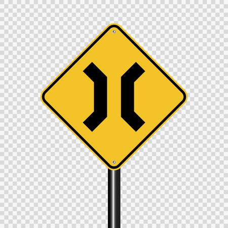 Approaching narrow bridge sign on transparent background