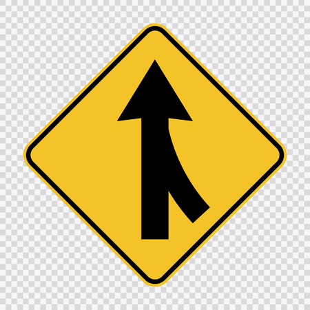 Lanes merging right sign on transparent background
