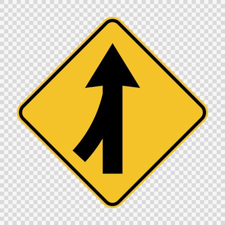 Voies fusionnant signe gauche sur fond transparent