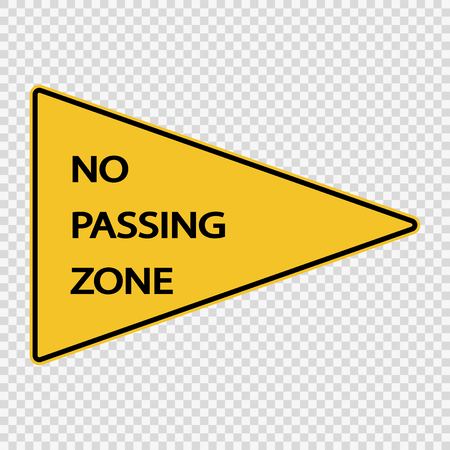 No passing zone sign on transparent background Vettoriali