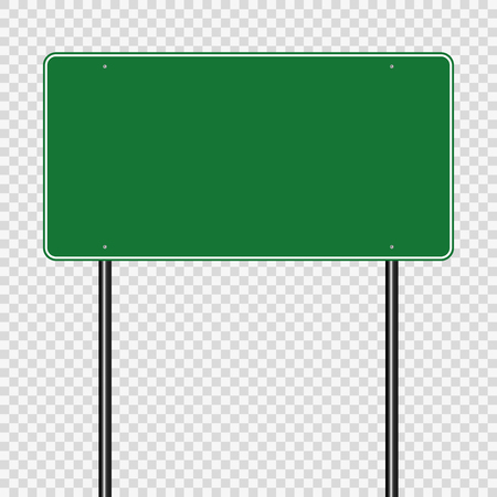 sign road green board on transparent background