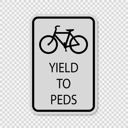 Bicycles Yield to Pedestrians Sign on transparent background Vetores