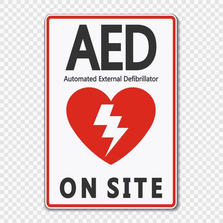 Symbol AED Sign label on transparent background Illustration