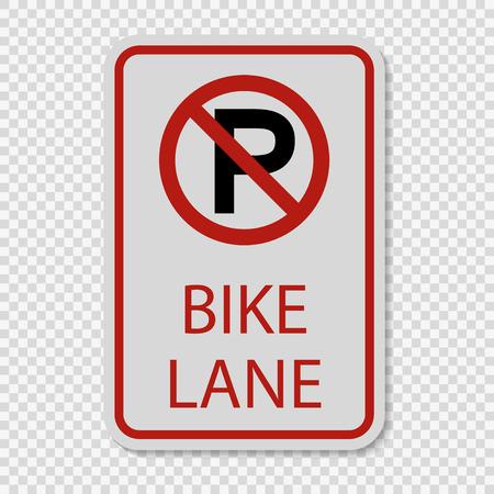 No Parking Bike Lane Sign on transparent background
