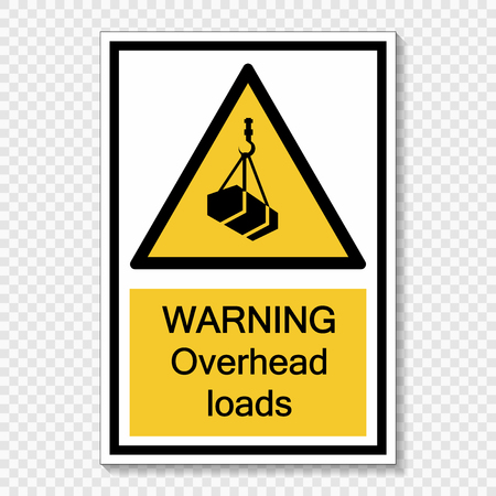 symbol warning overhead loads Sign on transparent background