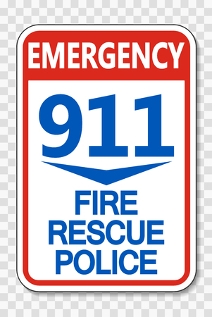 911 Fire Rescue Police Sign on transparent background Vectores