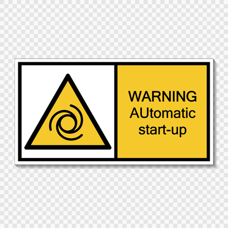 Symbol Warning automatic start-up sign label  on transparent background
