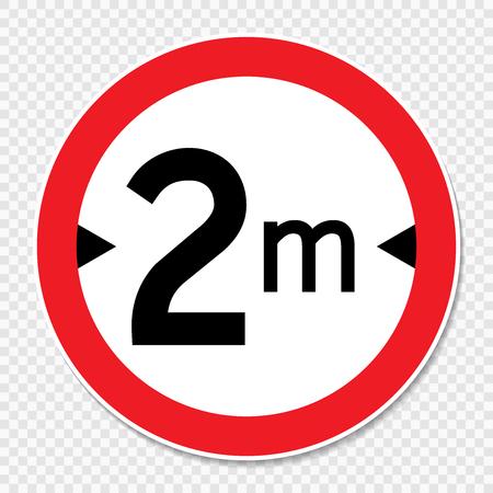Symbol width limit 2 m. sign on transparent background Banque d'images - 121124542