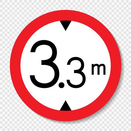 Symbol height limit sign on transparent background Illustration
