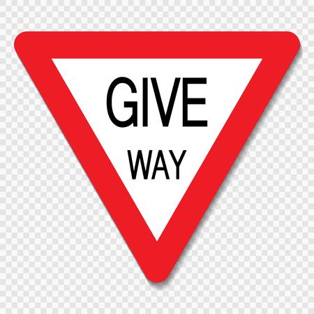 Symbol give way sign on transparent background Vetores