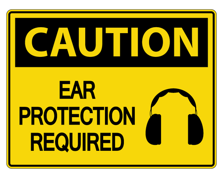 Caution Ear Protection Required Sign on white background