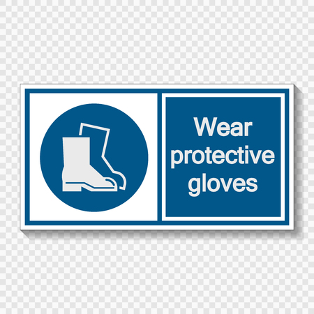 Symbol Wear protective footwear sign label  on transparent background