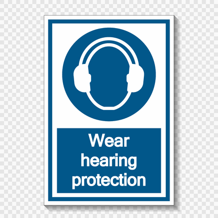 Symbol Wear hearing protection on transparent background