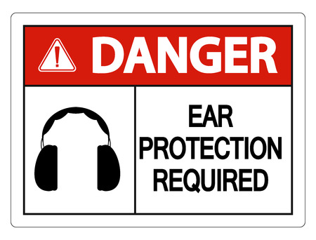 Danger Ear Protection Required Wall Sign on white background Иллюстрация