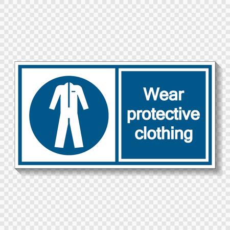 Symbol Wear protective clothing  on transparent background Ilustração