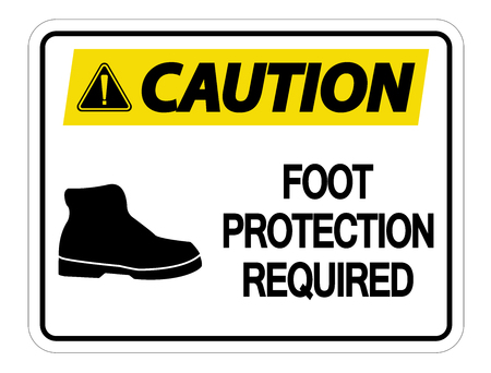Caution Foot Protection Required Wall Sign on white background Ilustração