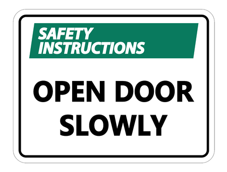 Safety instructions Open Door Slowly Wall Sign on white background