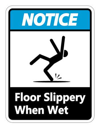 Notice Slippery When Wet Sign on white background