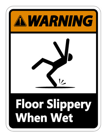Warning Slippery When Wet Sign on white background