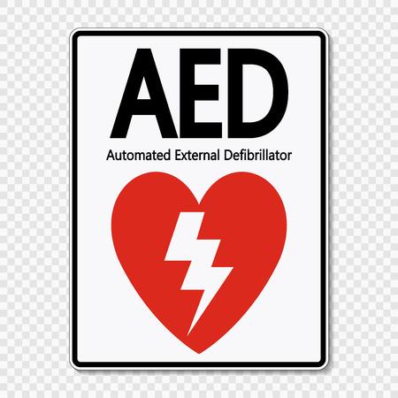 Etiqueta de signo de símbolo AED sobre fondo transparente