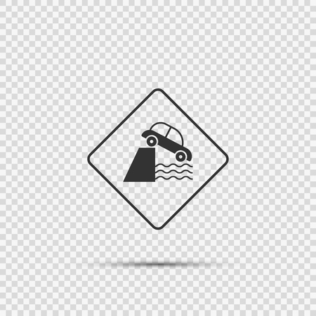 caution cliff ahead sign on transparent background