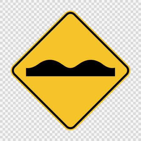 Uneven road surface sign on transparent background