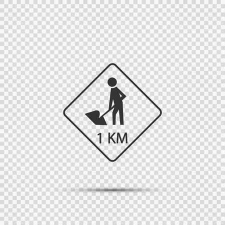road construction ahead 1km.sign on transparent background