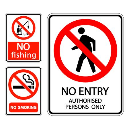 Set Schild Label Rauchen verboten,kein Angeln,kein Zutritt nur für autorisierte Personen