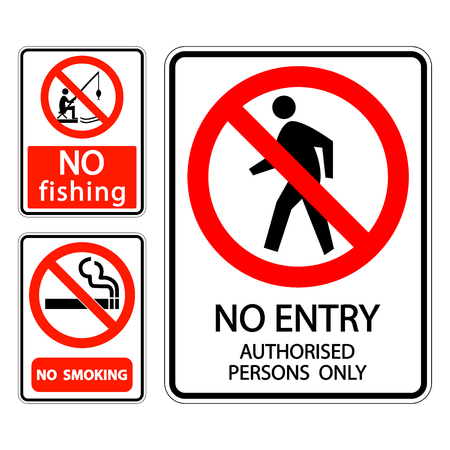 set sign label No smoking,no fishing,no entry authorised persons only Vettoriali