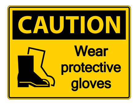 Caution Wear protective footwear sign on transparent background