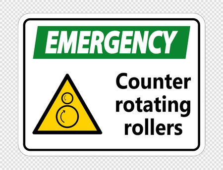 Emergency counter rotating rollers sign on transparent background