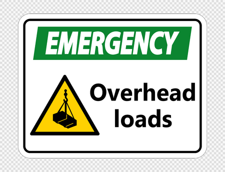 Emergency overhead loads Sign on transparent background Çizim