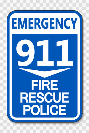 911 Fire Rescue Police Sign on transparent background