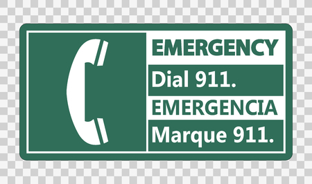 Bilingual Emergency Dial 911 Sign on transparent background