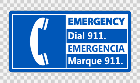 Bilingual Emergency Dial 911 Sign on transparent background Vectores