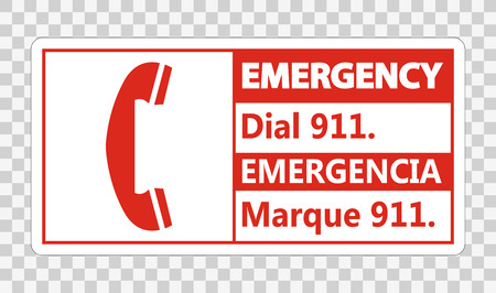 Bilingual Emergency Dial 911 Sign on transparent background Illustration