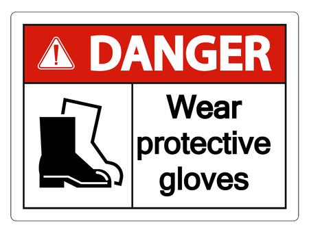 Danger Wear protective footwear sign on transparent background