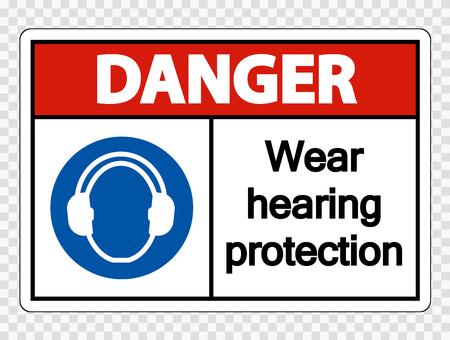 Pericolo Indossare protezioni per l'udito su sfondo trasparente Vettoriali