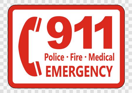 Rufen Sie 911 Zeichen auf transparentem Hintergrund an