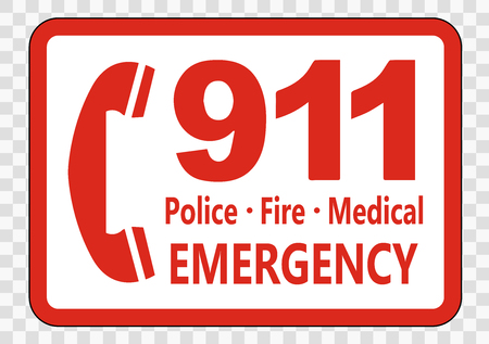 Call 911 Sign on transparent background