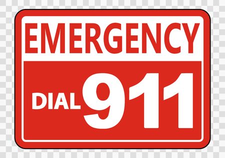 Emergency Call 911 Sign on transparent background