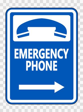 Emergency Phone (Right Arrow) Sign on transparent background Vektoros illusztráció