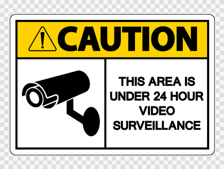 Attenzione quest'area è sotto il segno di videosorveglianza 24 ore su sfondo trasparente Vettoriali