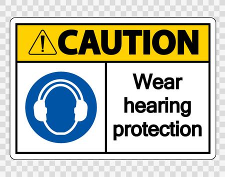 Attenzione Indossare protezioni per l'udito su sfondo trasparente Vettoriali