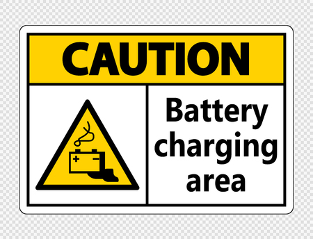 Caution battery charging area Sign on transparent background Ilustração