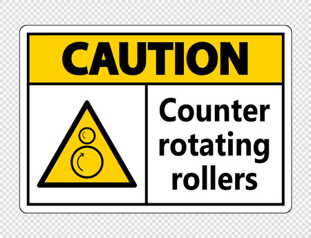 Caution counter rotating rollers sign on transparent background Ilustração