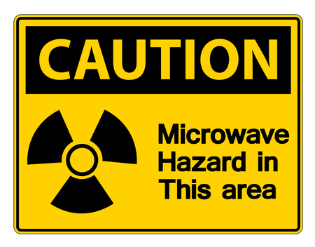 Caution Microwave Hazard Sign on white background