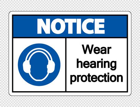 Avviso Indossare protezioni per l'udito su sfondo trasparente