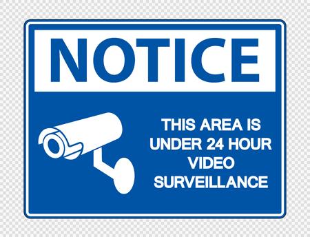 Avviso che quest'area è sotto il segnale di videosorveglianza 24 ore su 24 su sfondo trasparente