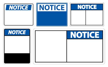 set symbol notice sign label on white background